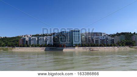 Danube River in Slovakias Capital Bratislava, as seen from a Ship
