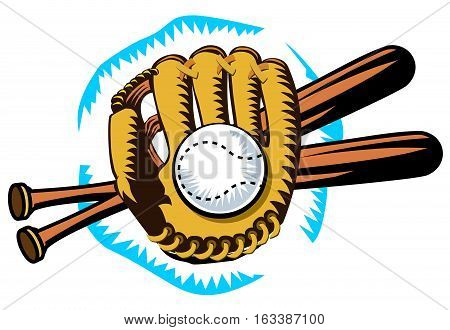 Graphic design of baseball equipment, glove, bats, ball