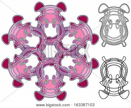 organic shapes in a decorative mandala, with extra design elements