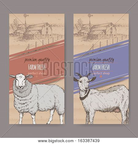 Set of two farm shop labels with farmhouse, barn, sheep and goat. Placed on cardboard texture. Includes hand drawn elements.