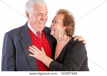 Happy Seniors With Arms Around Each Other
