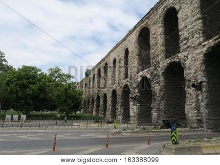 The Roman Valens Aqueduct in Istanbul, Turkey. It was built by the emperor Valens in the late 4th century.