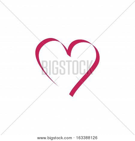 Heart isolated. Red sidn on white background. Isolated romantic silhouette symbol linked join love passion and wedding. Colorful mark of valentine day. Design element. Vector illustration