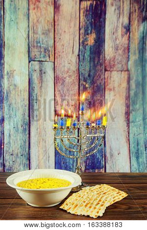 Hanukkah Menorah With Candles Matzo Soup