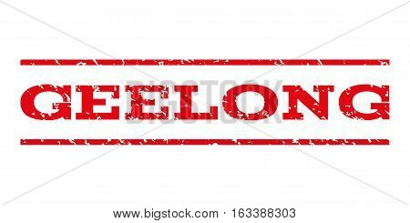 Geelong watermark stamp. Text tag between horizontal parallel lines with grunge design style. Rubber seal stamp with dirty texture. Vector intensive red color ink imprint on a white background.