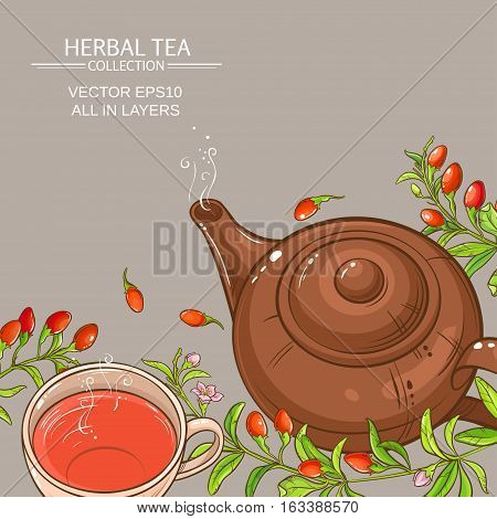 cup of goji berries tea and teapot on color background