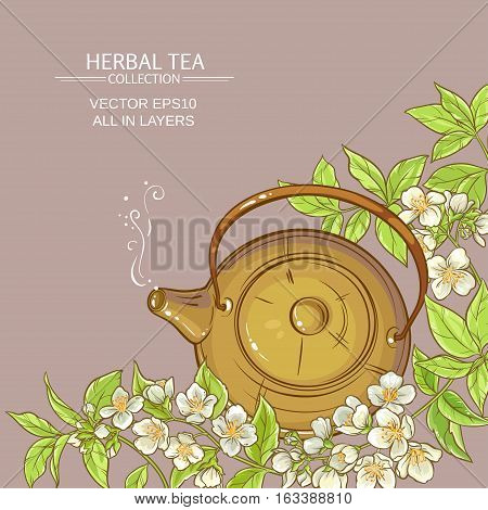 Illustration with teapot and jasmine flowers on color background