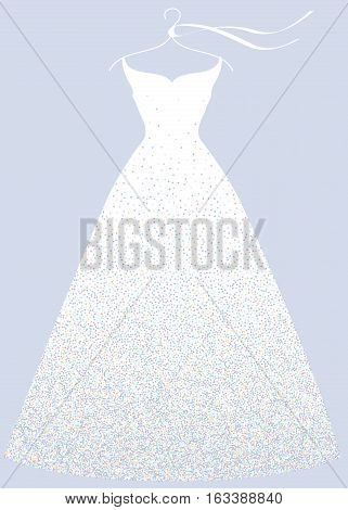 White bridal shower dress on hanger fashion illustration.