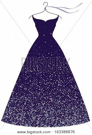 Deep violet evening party dress on hanger fashion illustration isolated on white