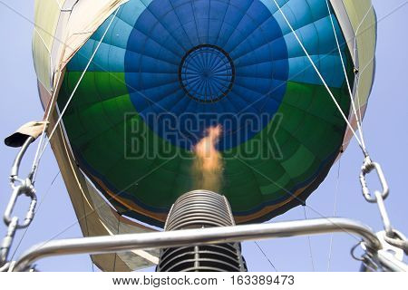 Gas-jet from green blue balloon with fire