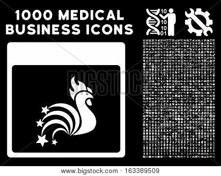 White Rooster Fireworks Calendar Page vector icon with 1000 medical business pictograms. Set style is flat symbols, white color, black background.