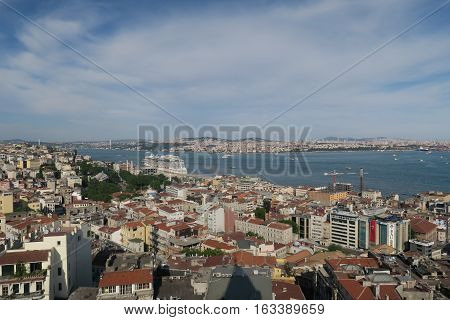View from Galatatower in Istanbul at Beyoglu at the European Side of the Bosphorus, the Bosphorus and the Asian-Anatolian Side of Istanbul.