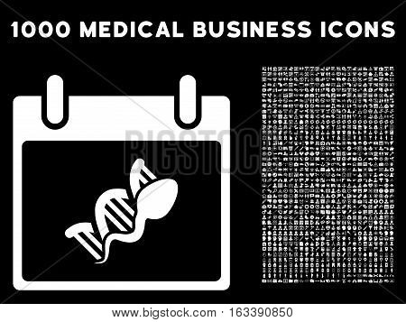White Sperm DNA Replication Calendar Day vector icon with 1000 medical business pictograms. Set style is flat symbols, white color, black background.