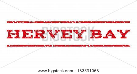Hervey Bay watermark stamp. Text tag between horizontal parallel lines with grunge design style. Rubber seal stamp with unclean texture. Vector intensive red color ink imprint on a white background.