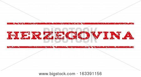 Herzegovina watermark stamp. Text caption between horizontal parallel lines with grunge design style. Rubber seal stamp with dirty texture.