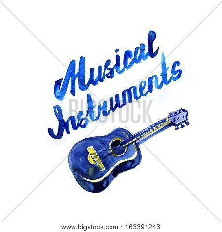 music instruments lettering concept. Watercolor illustration on white