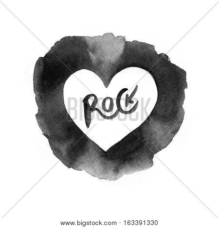 watercolor rock music on white. rock n roll icon. Rock concert poster design template