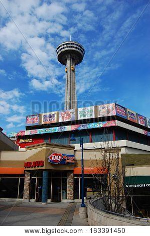 NIAGARA FALLS - MAR. 19, 2010: Skylon Tower overviewing Niagara Falls, Ontario, Canada.