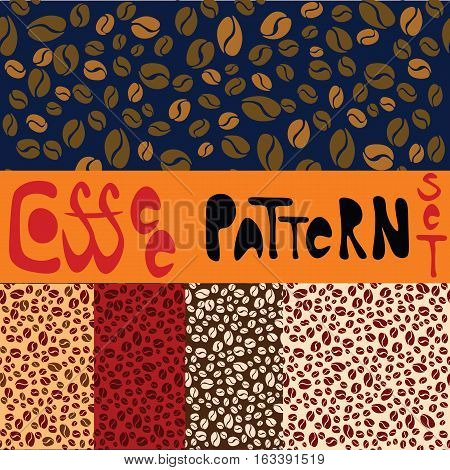 Pattern set with five coffee patterns. Creamy, red, brown,blue and light creamy patterns with coffee beans