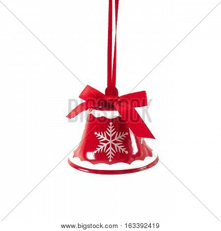 Red Christmas Jingle Bell Isolated On White Background New Year