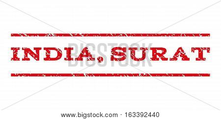 India, Surat watermark stamp. Text tag between horizontal parallel lines with grunge design style. Rubber seal stamp with scratched texture.
