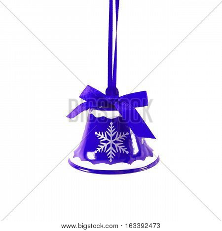 Blue Christmas Jingle Bell Isolated On White Background New Year