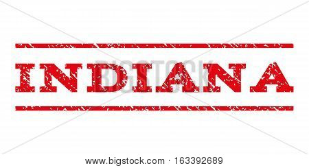 Indiana watermark stamp. Text tag between horizontal parallel lines with grunge design style. Rubber seal stamp with dust texture. Vector intensive red color ink imprint on a white background.