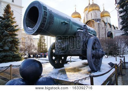 Tsar Cannon medieval artillery piece, a monument of Russian artillery and casting art.