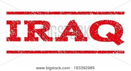 Iraq watermark stamp. Text tag between horizontal parallel lines with grunge design style. Rubber seal stamp with unclean texture. Vector intensive red color ink imprint on a white background.