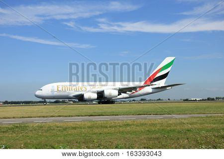 Amsterdam The Netherlands - August 7 2015: A6-EDI Emirates Airbus A380-800 takes off from Polderbaan Runway.