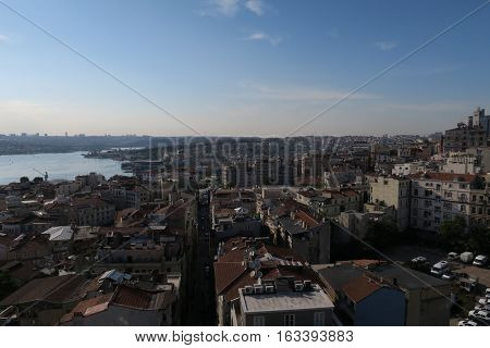 Beyoglu and Galata with the Golden Horn, as seen from Galata Tower