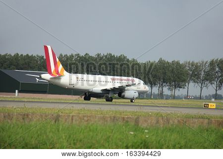 Amsterdam The Netherlands - August 10 2015: D-AGWR Germanwings Airbus A319-100 taxing on the Polderbaan runway to the main terminal of Amsterdam Schiphol Airport