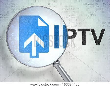 Web design concept: magnifying optical glass with Upload icon and IPTV word on digital background, 3D rendering
