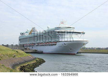 Velsen The Netherlands - May 22 2015: Ventura is a Grand-class cruise ship owned and operated by P&O Cruises built by Fincantieri Monfalcone Italy. It is 291.4 m (956 ft) long