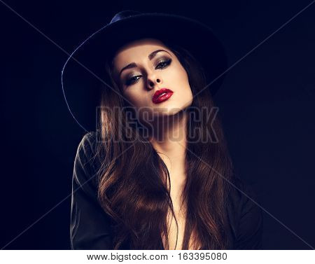 Emotion Glamour Fashion Female Model Posing In Black Shirt And Elegant Hat With Red Bright Lipstick