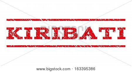 Kiribati watermark stamp. Text tag between horizontal parallel lines with grunge design style. Rubber seal stamp with scratched texture. Vector intensive red color ink imprint on a white background.