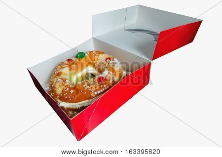 Rosca De Reyes In A Red Box Isolated
