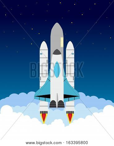 Starting shuttle illustration. Clouds stars shuttle and rocket engines set. Flat style