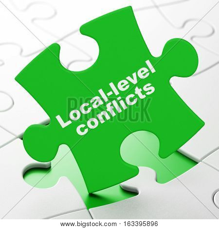 Political concept: Local-level Conflicts on Green puzzle pieces background, 3D rendering