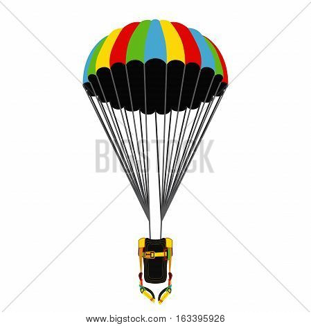 Parachute pack with opened parachute. Bright extreme sport equipment for skydiving parachuting paragliding. Vector flat style. poster