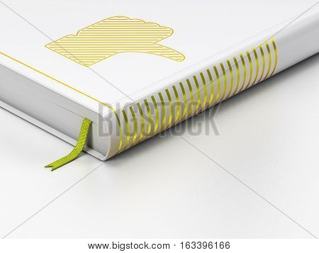 Social media concept: closed book with Gold Thumb Down icon on floor, white background, 3D rendering