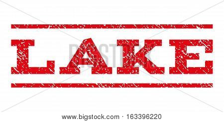 Lake watermark stamp. Text tag between horizontal parallel lines with grunge design style. Rubber seal stamp with dirty texture. Vector intensive red color ink imprint on a white background.