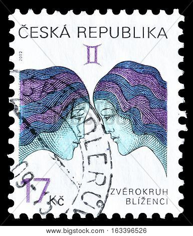CZECH REPUBLIC - CIRCA 2002 : Cancelled postage stamp printed by Czech Republic, that shows Twins.