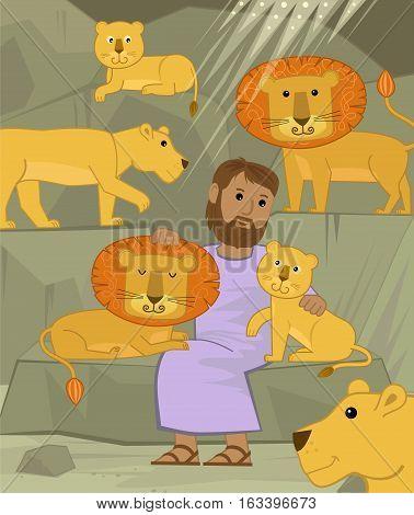 Cute illustration of Daniel in the lions den. Eps10