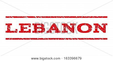 Lebanon watermark stamp. Text caption between horizontal parallel lines with grunge design style. Rubber seal stamp with unclean texture. Vector intensive red color ink imprint on a white background.