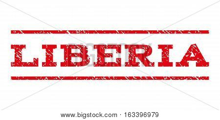 Liberia watermark stamp. Text caption between horizontal parallel lines with grunge design style. Rubber seal stamp with unclean texture. Vector intensive red color ink imprint on a white background.