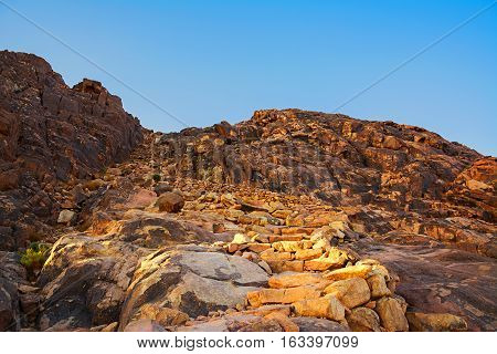 Mount Moses Desert Sunrise. Nature Background With Sky And Rocks