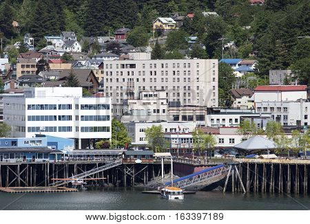 The tender boat brings more tourists to Juneau the capital of Alaska.