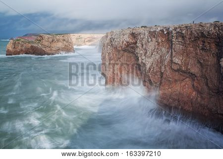 Storm and the waves on the shore Sagres, Sao Vicente. Portugal.