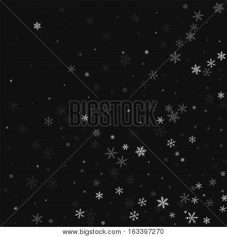Sparse Snowfall. Abstract Random Scatter On Black Background. Vector Illustration.